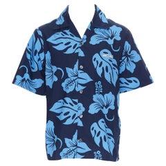 new PRADA 2019 Hibiscus blue floral print short sleeve Hawaiian bowling shirt M
