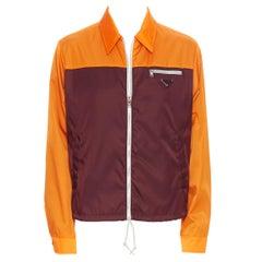 new PRADA 2019 orange burgundy triangle enamel plate nylon jacket IT48 M
