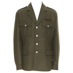 new PRADA 2019 Runway 100% virgin wool green military pocket jacket coat IT50 L
