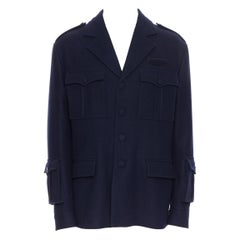 new PRADA 2019 Runway 100% virgin wool navy military pocket sleeves jacket IT50