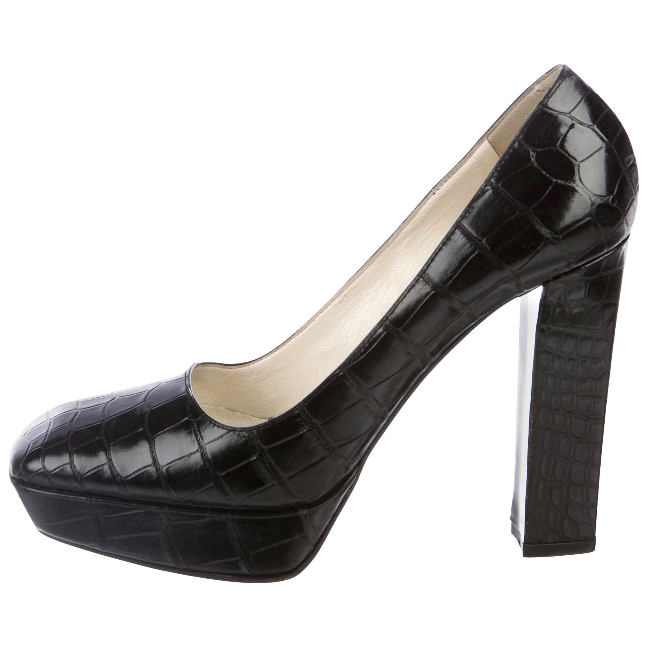 NEW Prada Black Exotic Skin Crocodile Platform High Heels Pumps