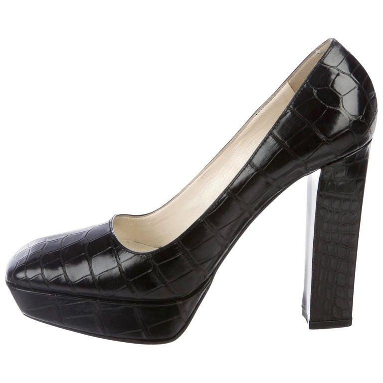 NEW Prada Black Exotic Skin Crocodile Platform High Heels Pumps For Sale