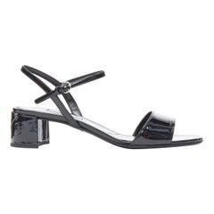 new PRADA black patent silver signature triangle logo plate mid heel sandal EU40