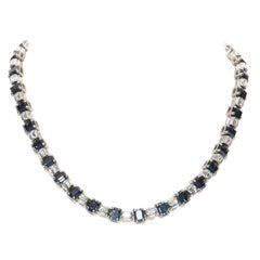new PRADA blue faux sapphire rhinestone crystal jewel baguette fashion necklace