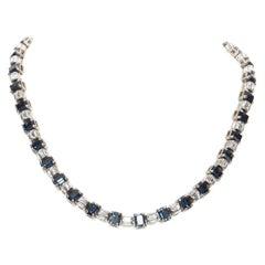 new PRADA blue sapphire crystal jewel topaz rhinestone baguette fashion necklace