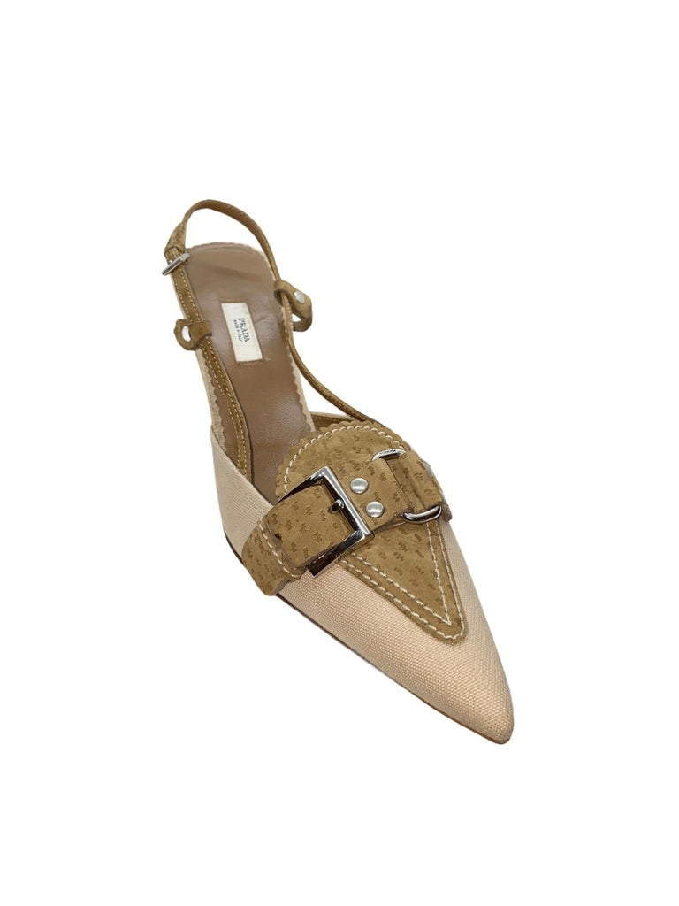 "Beautiful Prada Slingback Mules Canvas & Suede Classic style Made in Italy Silver-colored hardware, engraved ""Prada"" Size 40 EU Brandnew & unworn Comes with Prada dustbag"