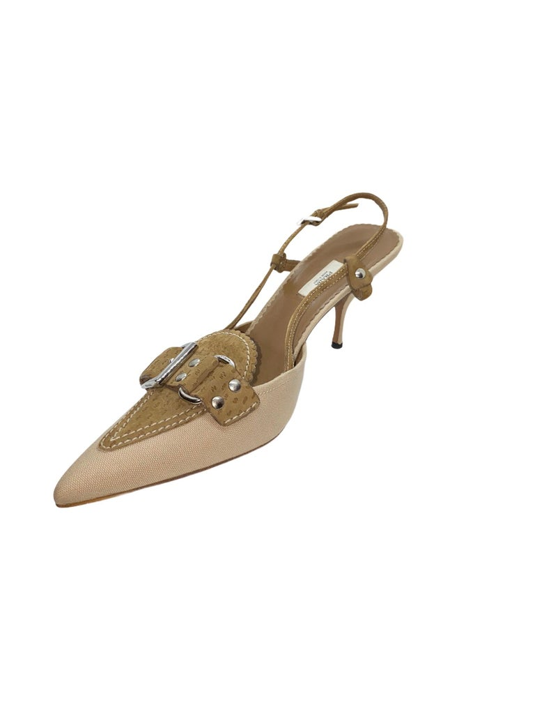NEW Prada Canvas & Suede Slingback Mules Heel Pumps  In New Condition For Sale In Switzerland, CH