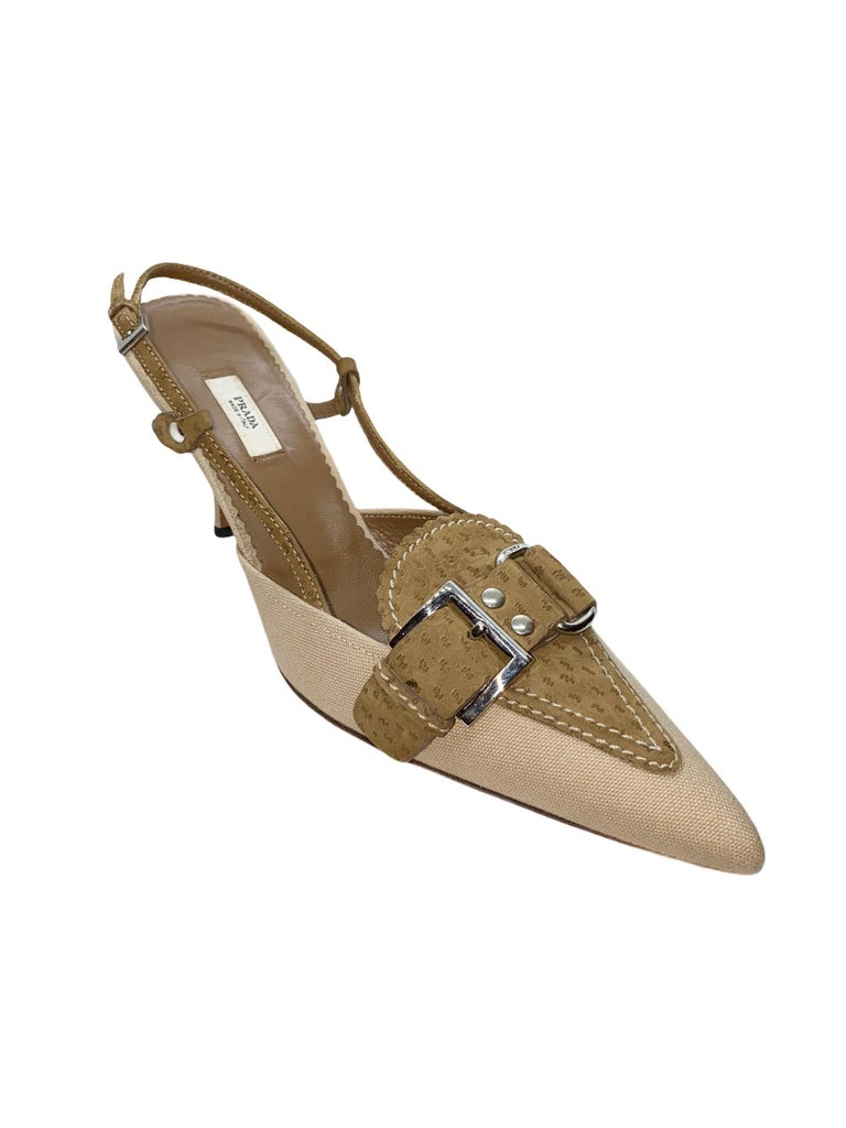 NEW Prada Canvas & Suede Slingback Mules Heel Pumps  For Sale 1