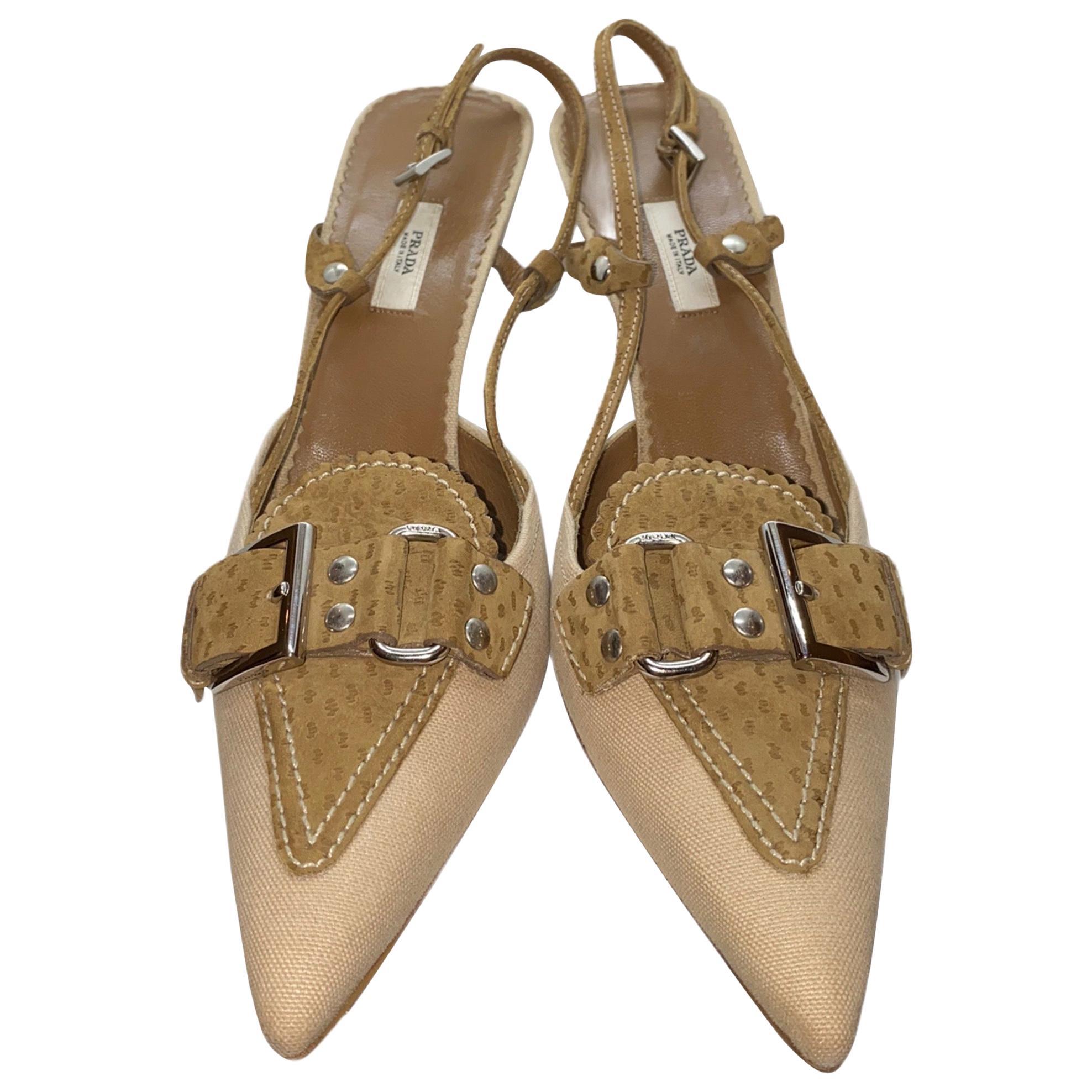 NEW Prada Canvas & Suede Slingback Mules Heel Pumps