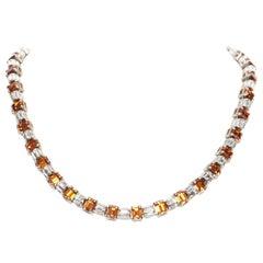 new PRADA clear sapphire topaz orange crystal rhinestone baguette short necklace