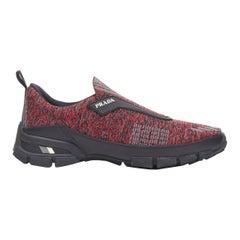 new PRADA Crossection Knit Low red black sock low runner sneakers UK7 EU40