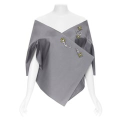 new PRADA grey wool green crystal flower kimono off shoulder shawl cape