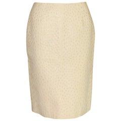 NEW Prada Ivory Exotic Ostrich Skin Skirt