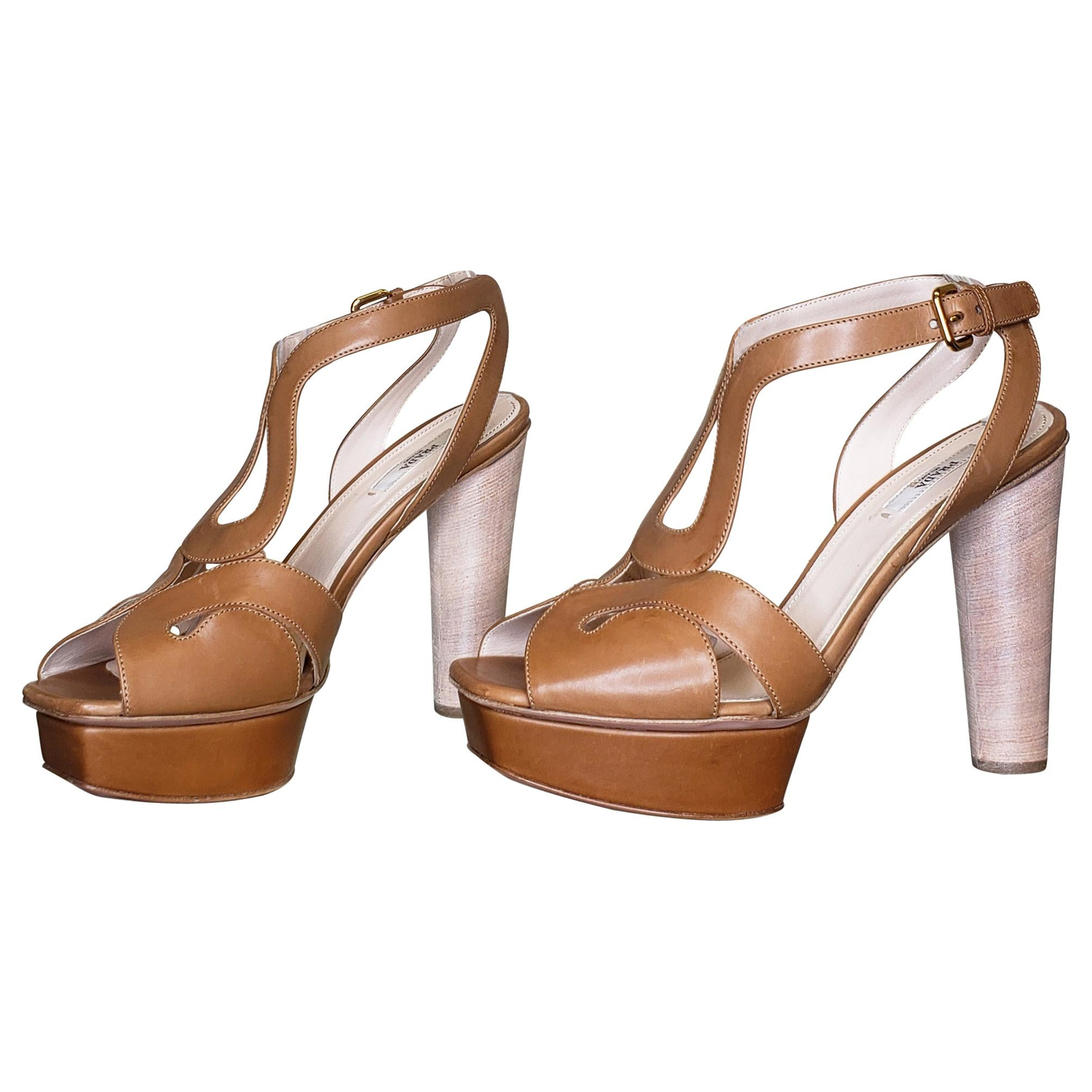 New PRADA LEATHER LIGHT BROWN PUMPS SANDALS SHOES 9.5 - 39.5