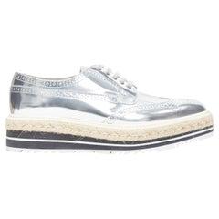 new PRADA metallic silver espadrille jute platform oxford brogue shoe EU40 US10