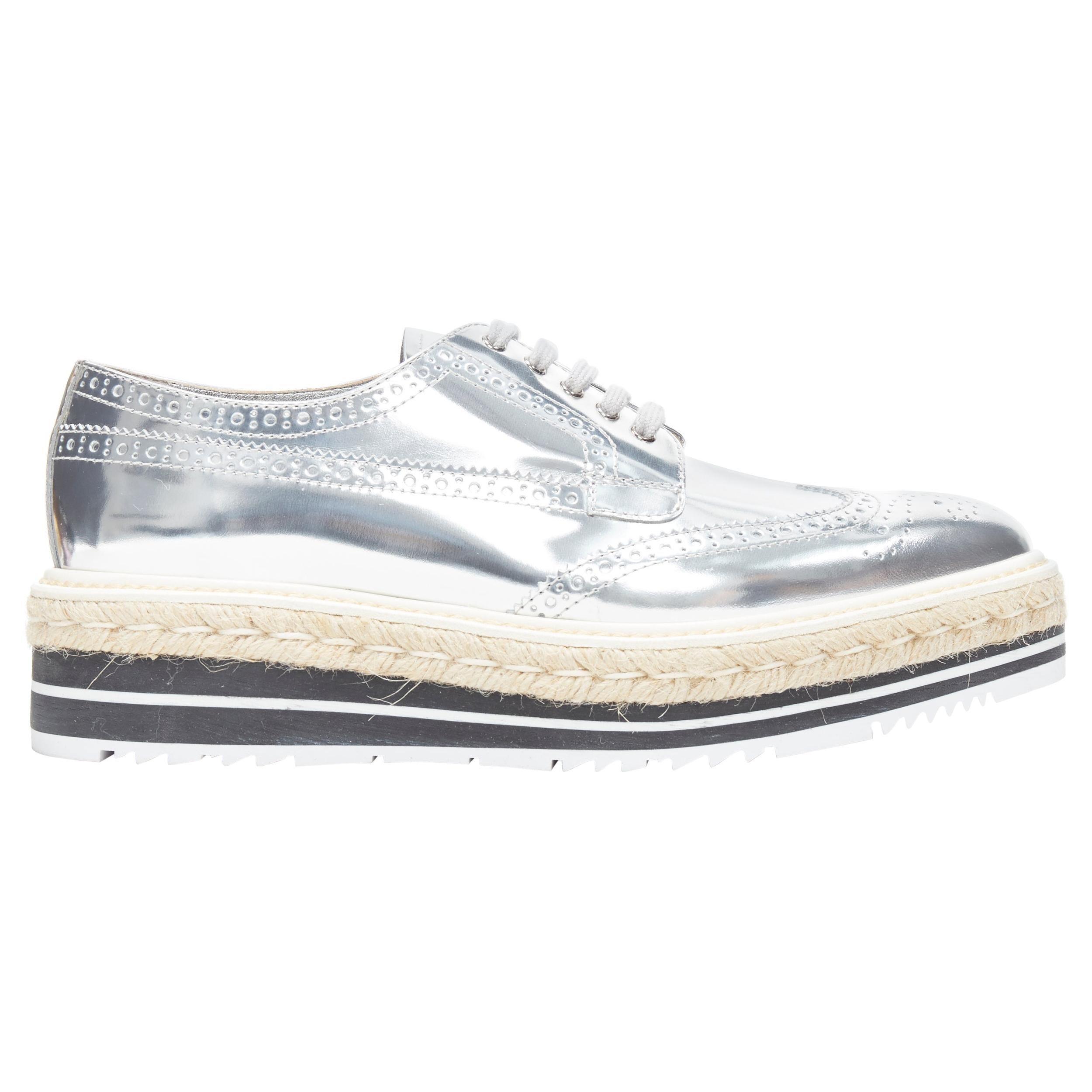 new PRADA mirrored silver leather espadrille jute platform sole brogue EU40 US10