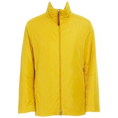 new PRADA Red Line yellow polyester padded long length snowboard jacket IT46 S