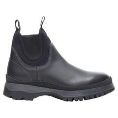 new PRADA Runway Brixxen black leather neoprene sock triple sole boot UK8 EU42