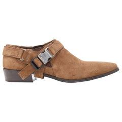 new PRADA Santiag brown suede logo buckle harness western brogue shoe EU36