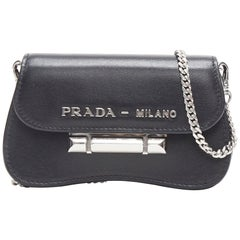 new PRADA Sidonie black calf city micro push clasp bandoliera micro shoulder bag