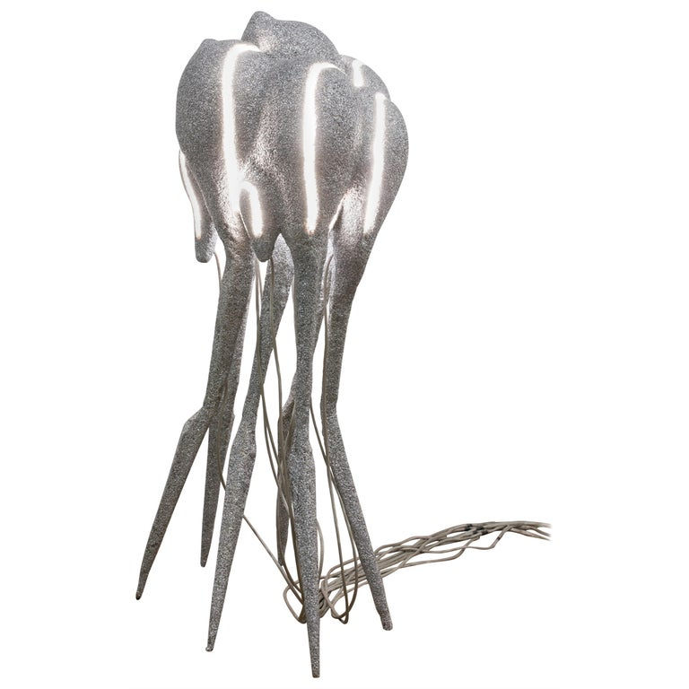 New Primitives Floor Lamp in Aluminum Post-Digital Sculptural Design by Mtharu For Sale