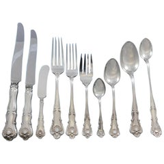 New Queens by Durgin Sterling Silver Flatware Set Service 87 Pieces Dinner Shell