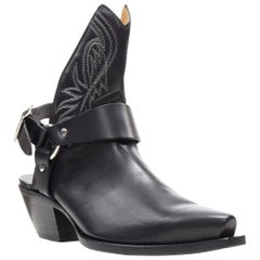 new R13 black leather western cut out open back harness buckle cowboy boots EU36