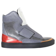 new RAF SIMONS STERLING RUBY silver strapped high top sneakers shoes EU40 US7