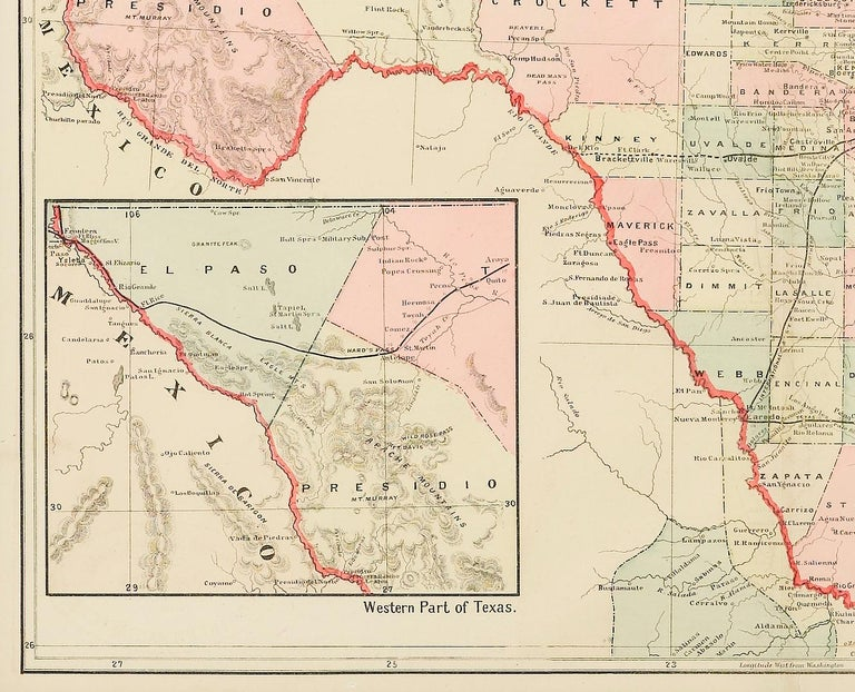 Map Of Texas Railroads.New Rail Road And County Map Of The Southern Part Of Texas George Cram 1882