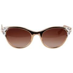 New Rama Vintage 1950s Alluminium Rose Gold Cat-Eye Sunglasses 125mm Wide