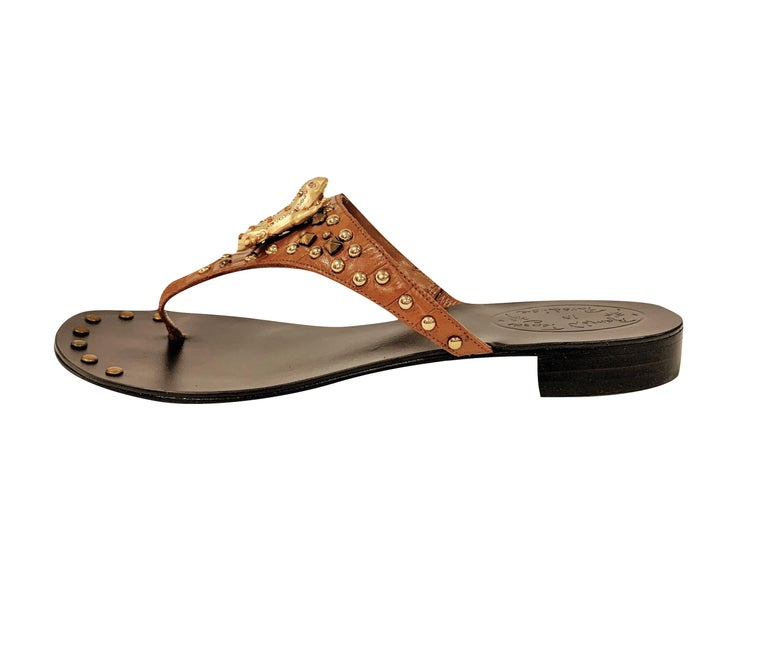 Ramon Tenza Spain Brand New Cognac & Gold Thong Sandals * Gold Frog Adornment * Cognac Leather * Gold Beading * Size: 6 * 1.25