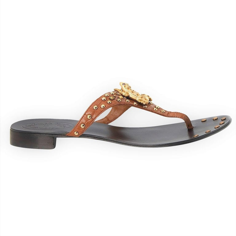New Ramon Tenza Spain Gold Frog Flat Sandal Slide Sz 6 For Sale 1