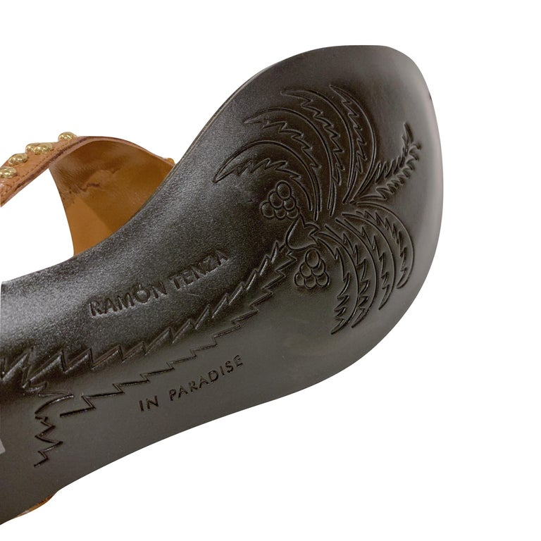 New Ramon Tenza Spain Gold Frog Flat Sandal Slide Sz 6 For Sale 2