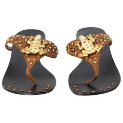 New Ramon Tenza Spain Gold Frog Flat Sandal Slide Sz 6
