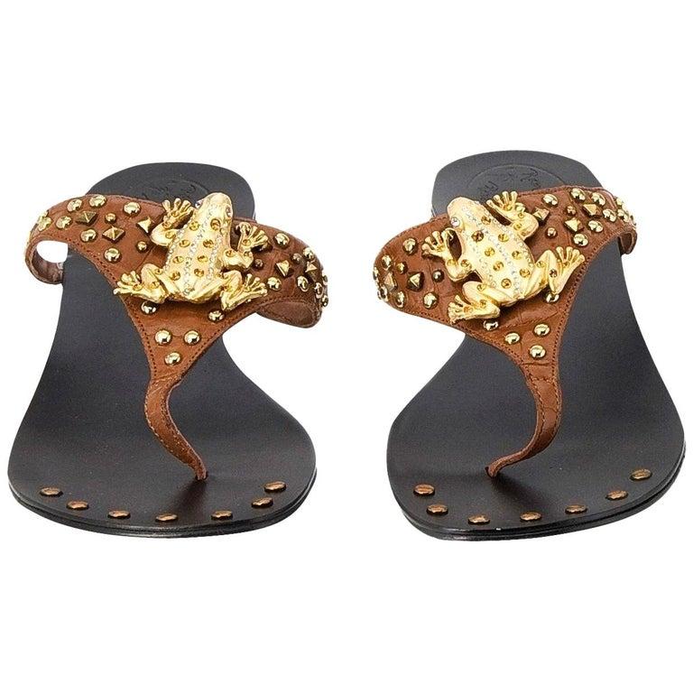 New Ramon Tenza Spain Gold Frog Flat Sandal Slide Sz 6 For Sale