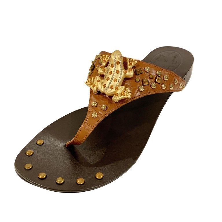 Black New Ramon Tenza Spain Gold Frog Flat Sandal Slide Sz 6.5 For Sale