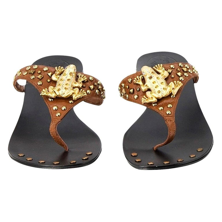 New Ramon Tenza Spain Gold Frog Flat Sandal Slide Sz 6.5 For Sale