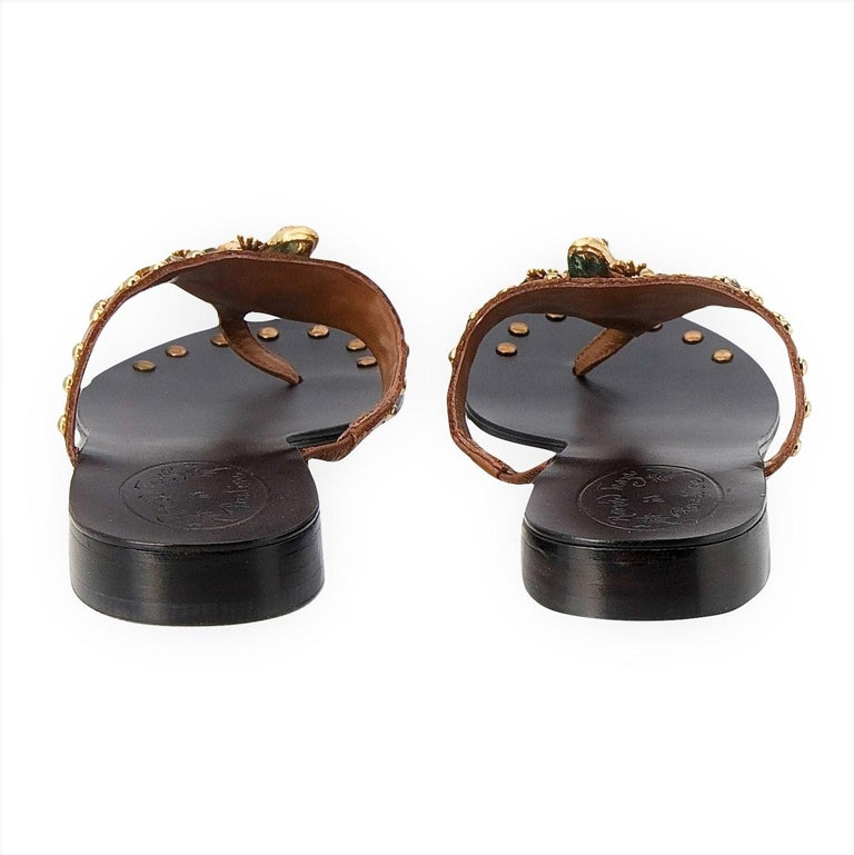 New Ramon Tenza Spain Gold Frog Flat Sandal Slide Sz 8.5 For Sale 1