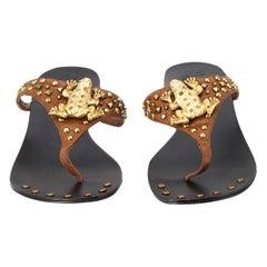 New Ramon Tenza Spain Gold Frog Flat Sandal Slide Sz 8.5