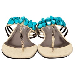 New Ramon Tenza Spain Turquoise Snakeskin Flat Sandal Slide Sz 10