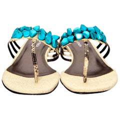 New Ramon Tenza Spain Turquoise Snakeskin Flat Sandal Slide Sz 6