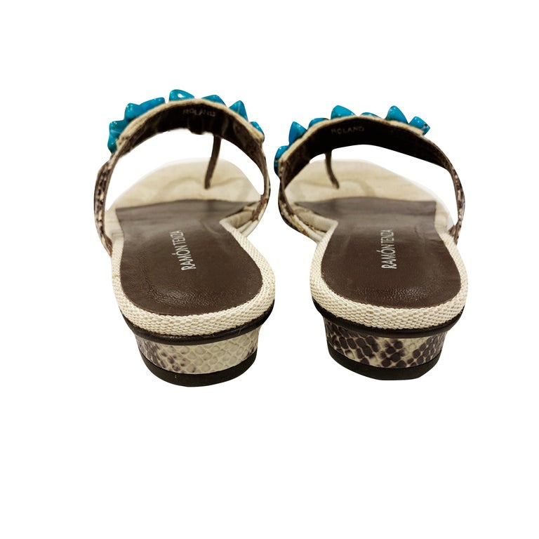 New Ramon Tenza Spain Turquoise Snakeskin Flat Sandal Slide Sz 8.5 For Sale 5