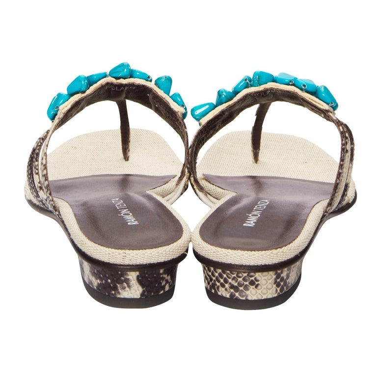 New Ramon Tenza Spain Turquoise Snakeskin Flat Sandal Slide Sz 8.5 In New Condition For Sale In Leesburg, VA