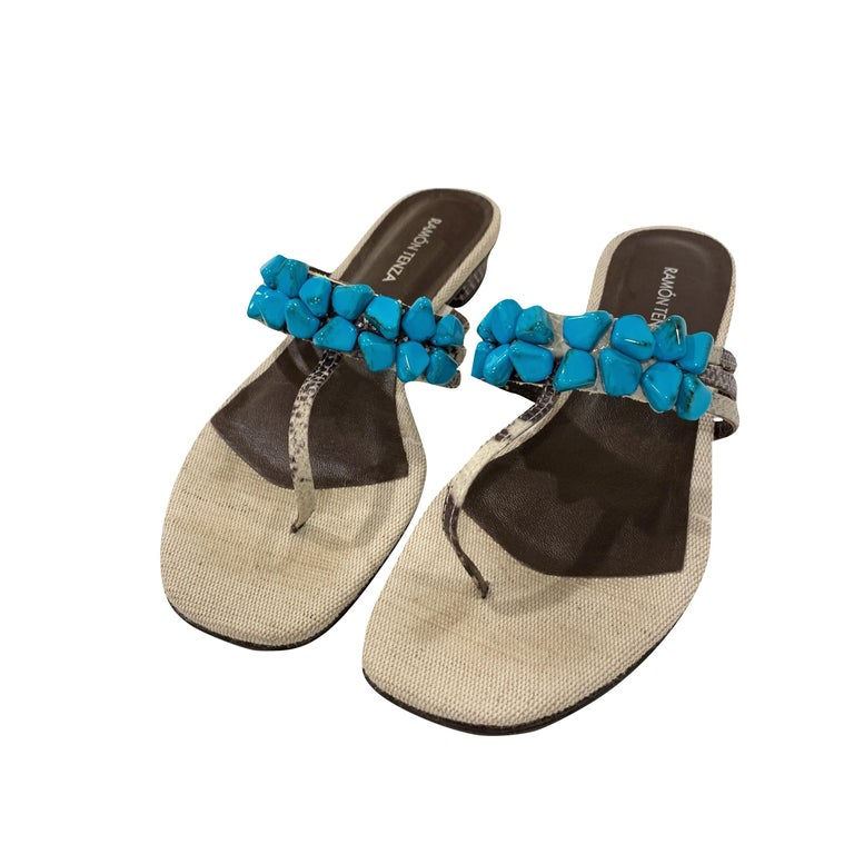 New Ramon Tenza Spain Turquoise Snakeskin Flat Sandal Slide Sz 8.5 For Sale 1
