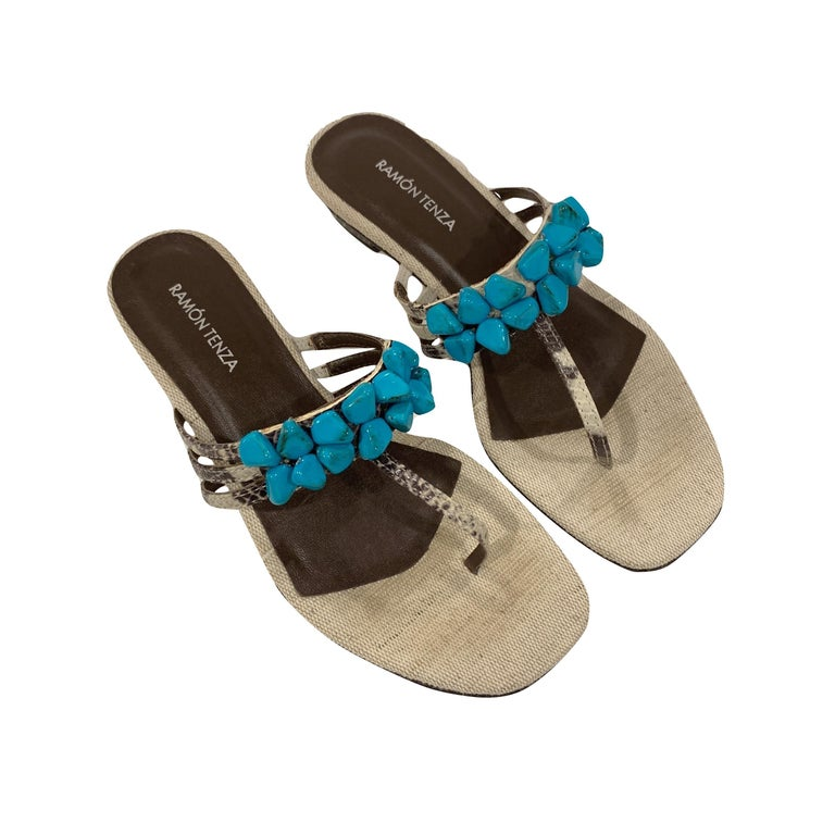 New Ramon Tenza Spain Turquoise Snakeskin Flat Sandal Slide Sz 8.5 For Sale 2