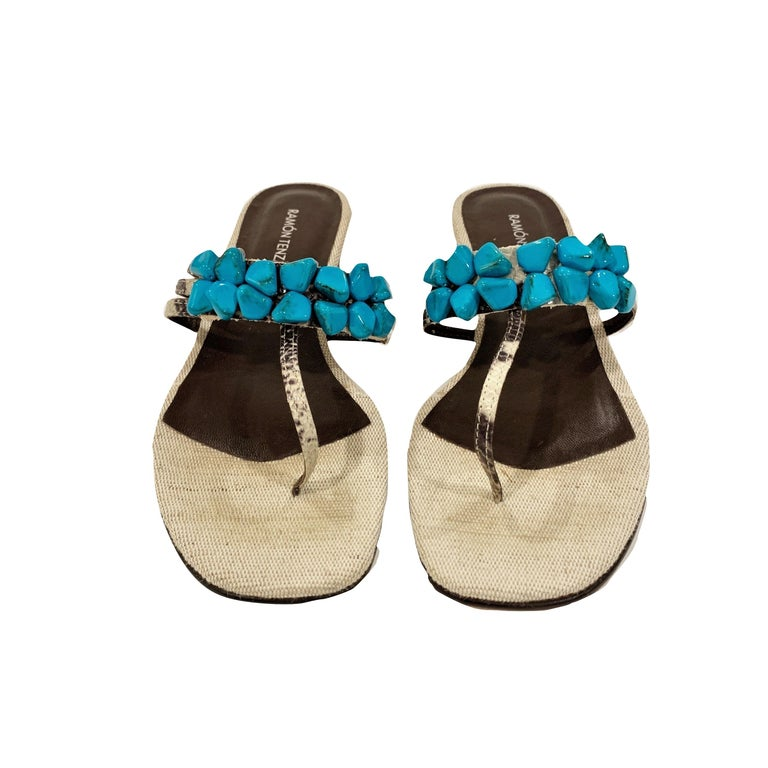New Ramon Tenza Spain Turquoise Snakeskin Flat Sandal Slide Sz 8.5 For Sale 4