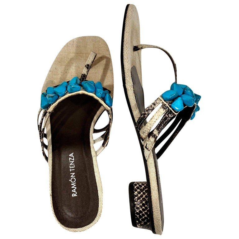 New Ramon Tenza Spain Turquoise Snakeskin Flat Sandal Slide Sz 8.5 For Sale