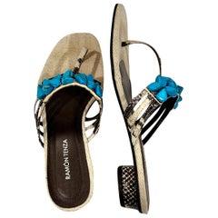 New Ramon Tenza Spain Turquoise Snakeskin Flat Sandal Slide Sz 8.5