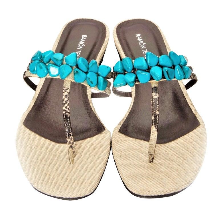 New Ramon Tenza Spain Turquoise Snakeskin Flat Sandal Slide Sz 9 For Sale 6