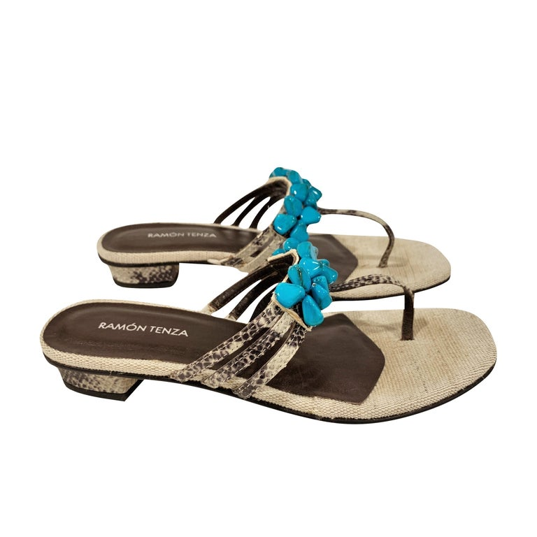 Ramon Tenza Spain Brand New Beige & Turquoise Thong Sandals * Padded Leather Footbed * Snakeskin Heel & Strap * Faux Turquoise Beading * Size: 9 * 1.25